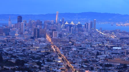 san francisco : Day to night pan timelapse of San Francisco 4K