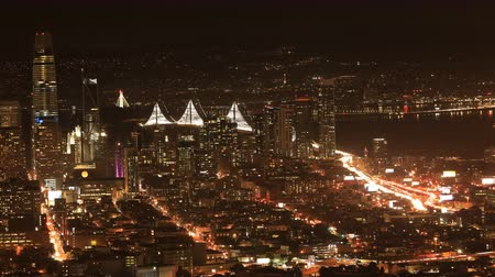 pyramida : Night timelapse of San Francisco skyline 4K Dostupné videozáznamy
