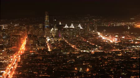 pyramida : Night timelapse of San Francisco, California city center 4K Dostupné videozáznamy