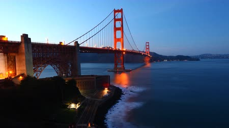 san francisco : Timelapse of the Golden Gate Bridge, San Francisco as night falls 4K