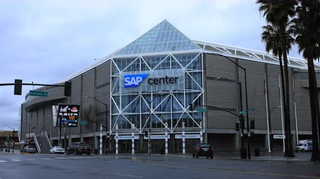 san jose ca : Timelapse of the SAP Center in San Jose, California 4K