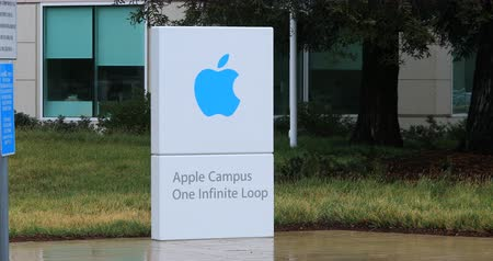 apple headquarter : View of the Apple Campus entrance sign in Cupertino, California 4K