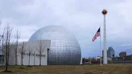 Массачусетс : Timelapse of the Naismith Memorial Basketball Hall of Fame, Springfield 4K Стоковые видеозаписи