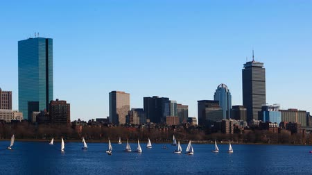 arka görünüm : Timelapse of the Boston downtown across the harbor 4K Stok Video