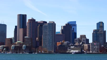 Массачусетс : Timelapse of the Boston, Massachusetts downtown across the harbor 4K