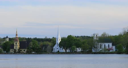 steeples : View of the three churches of Mahone Bay, Nova Scotia 4K