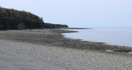 kanada : Shoreline view at Bay of Fundy, Nova Scotia, place of huge tides 4K Stock mozgókép