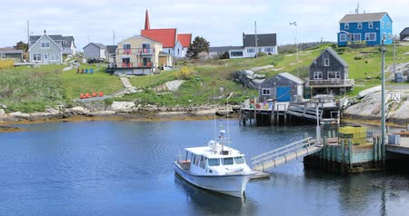 fishing village : View of colorful buildings at Peggys Cove in Nova Scotia 4K