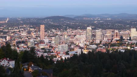 Орегон : Timelapse Night to day  of the Portland, Oregon downtown 4K