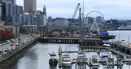 waterrad : Mening de havengebied van van Seattle, Washington 4K
