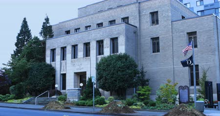 városháza : Scene of Everett, Washington City Hall 4K Stock mozgókép