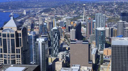 Вашингтон : Timelapse aerial Seattle, Washington downtown 4K Стоковые видеозаписи