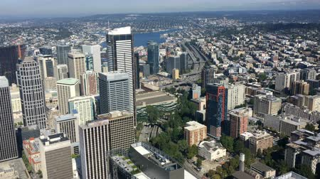 Вашингтон : Aerial scene of Seattle, Washington downtown 4K