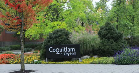 ingiliz columbia : View of Coquitlam, Canada City Hall 4K Stok Video