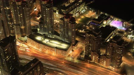 bank tower : Timelapse aerial of Toronto day to night 4K Stock Footage