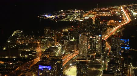 bank tower : Timelapse aerial view of Toronto, Canada after dark 4K Stock Footage