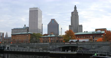 northeast : View of downtown Providence, RI 4K