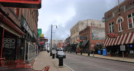 blues music : Scene of famous Beale St. in Memphis, Tennessee 4K Stock Footage