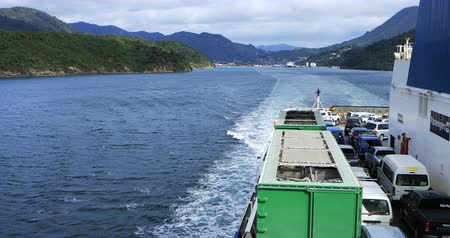 north bay : Scene from Ferry, South to North Island, New Zealand 4K Stock Footage