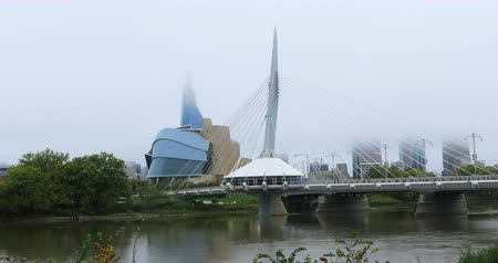 haklar : Provencher Bridge and Canadian Museum for Human Rights, Canada 4K Stok Video