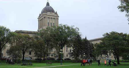 Manitoba Legislature Building in Winnipeg, Manitoba 4K Stok Video
