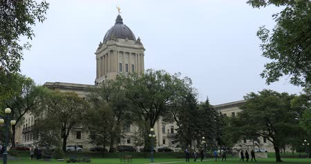 election : Manitoba Legislature Building in Winnipeg, Canada 4K Stock Footage
