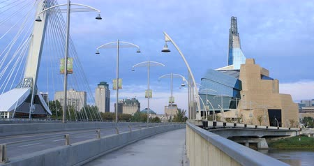 Provencher Bridge and Museum for Human Rights, Canada 4K Stok Video