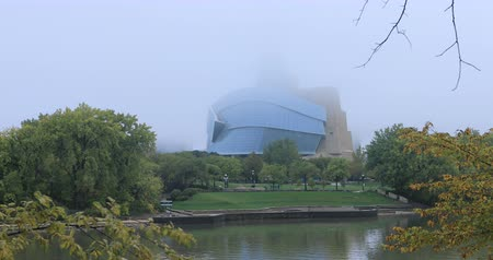 Canadian Museum for Human Rights on foggy day 4K