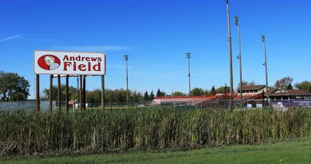 vacant : Andrews Field in Brandon, Manitoba 4K. Opened in 1987 Stock Footage