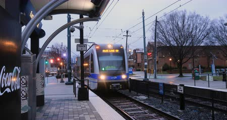 Észak amerika : Rapid Transit in Charlotte, North Carolina 4K Stock mozgókép