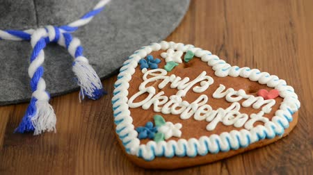 hz : Oktoberfest Gingerbread Cookies, hat and beer Stock Footage