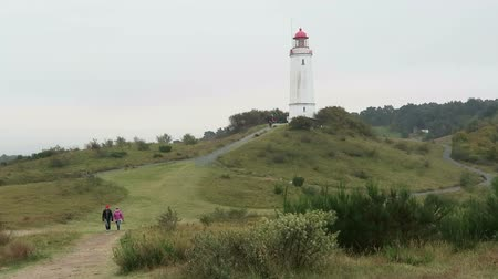 thornbush : Monastery, Mecklenburg-Western Pomerania  Germany 17 October 2016: People walking through Baltic Sea landscape at Dornbusch at Hiddensee Isle (Germany). Autumn time. Stock Footage