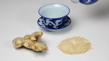 herbal : ginger root and ginger tea Stock Footage