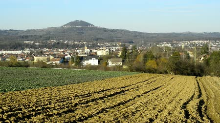 idil : Panoramic view to the German city Eislingen and hill Hohenstaufen