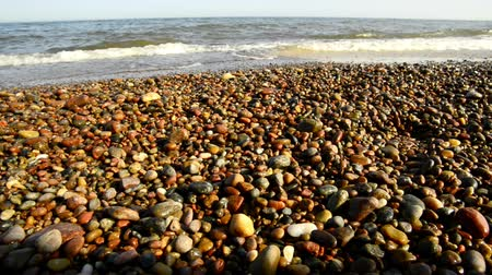 dalgakıran : Beach of the Baltic sea with surf on pebbles Stok Video