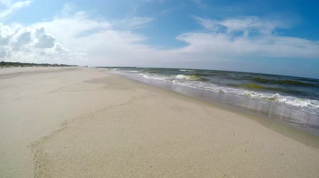 dalgakıran : Beach of the Baltic sea in Poland Stok Video
