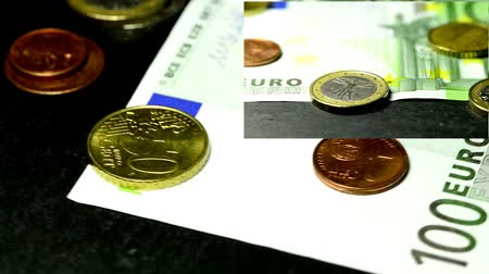 euro banknotes : euro money on turn table