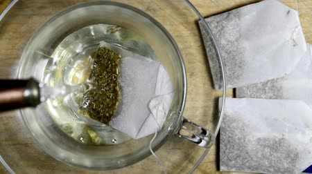 turn table : Peppermint tea, infusion and herb on a turn table Stock Footage