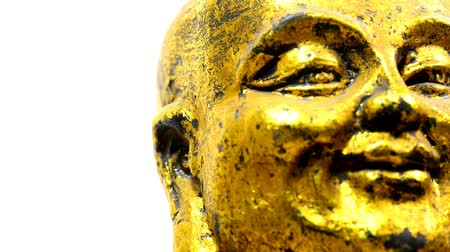 felsefe : Buddha figure, head with camera drive Stok Video