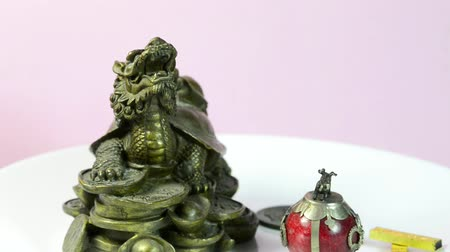 shui : 2019 year of the pig, coin, turtle for luck and pig figure