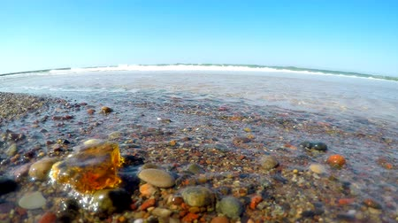 baltık denizi : Amber in the surf of the Baltic sea with blue sky Stok Video