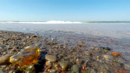değerli : Amber in the surf of the Baltic sea with blue sky Stok Video