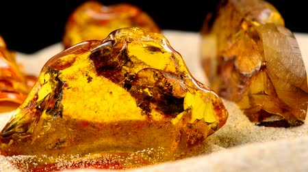 貴重な : Amber, big pieces with inclusions on turn table