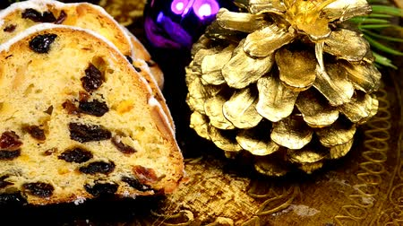 rodzynki : German Christmas stollen on turn table