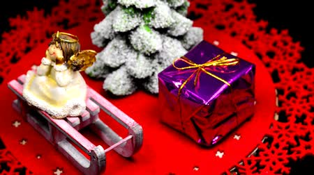 packet : Christmas decoration on a turn table Stock Footage