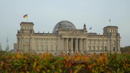 chancellor : German Federal Parliament with hedge autumn evening Stock Footage