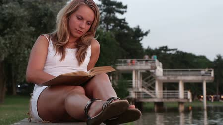 livros : Woman reading at sunset Stock Footage