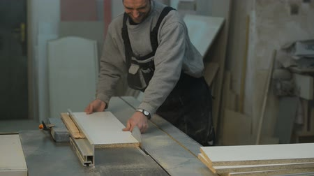 práce ze dřeva : carpenter cutting the wooden panel with circular