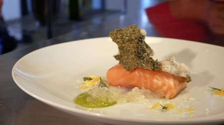 plated : Smoked salmon and sauce cooked by molecular gastronomy technic