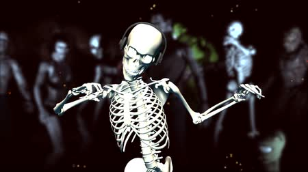 csontváz : Dancing skeleton with earphonesLooping animation